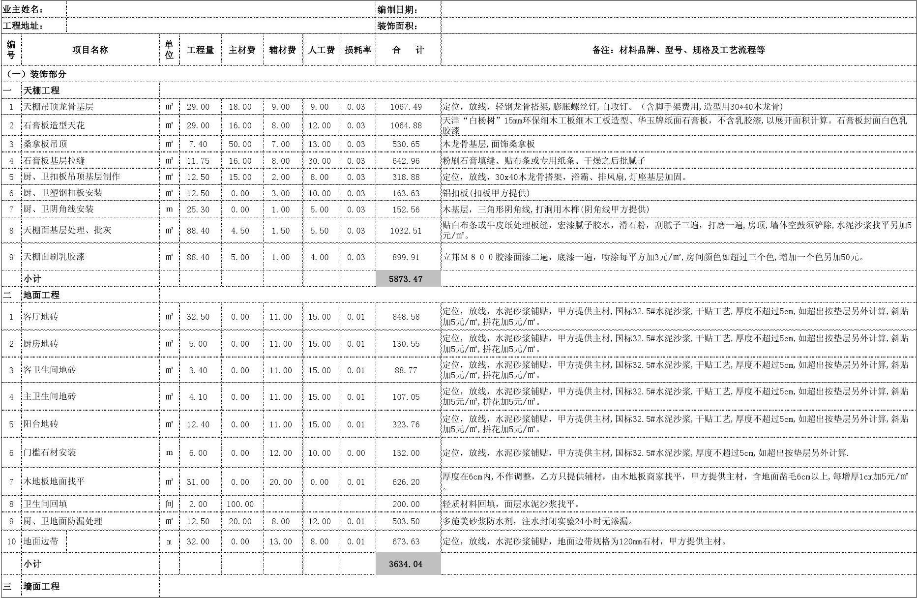 室内设计材料预算表 及价格