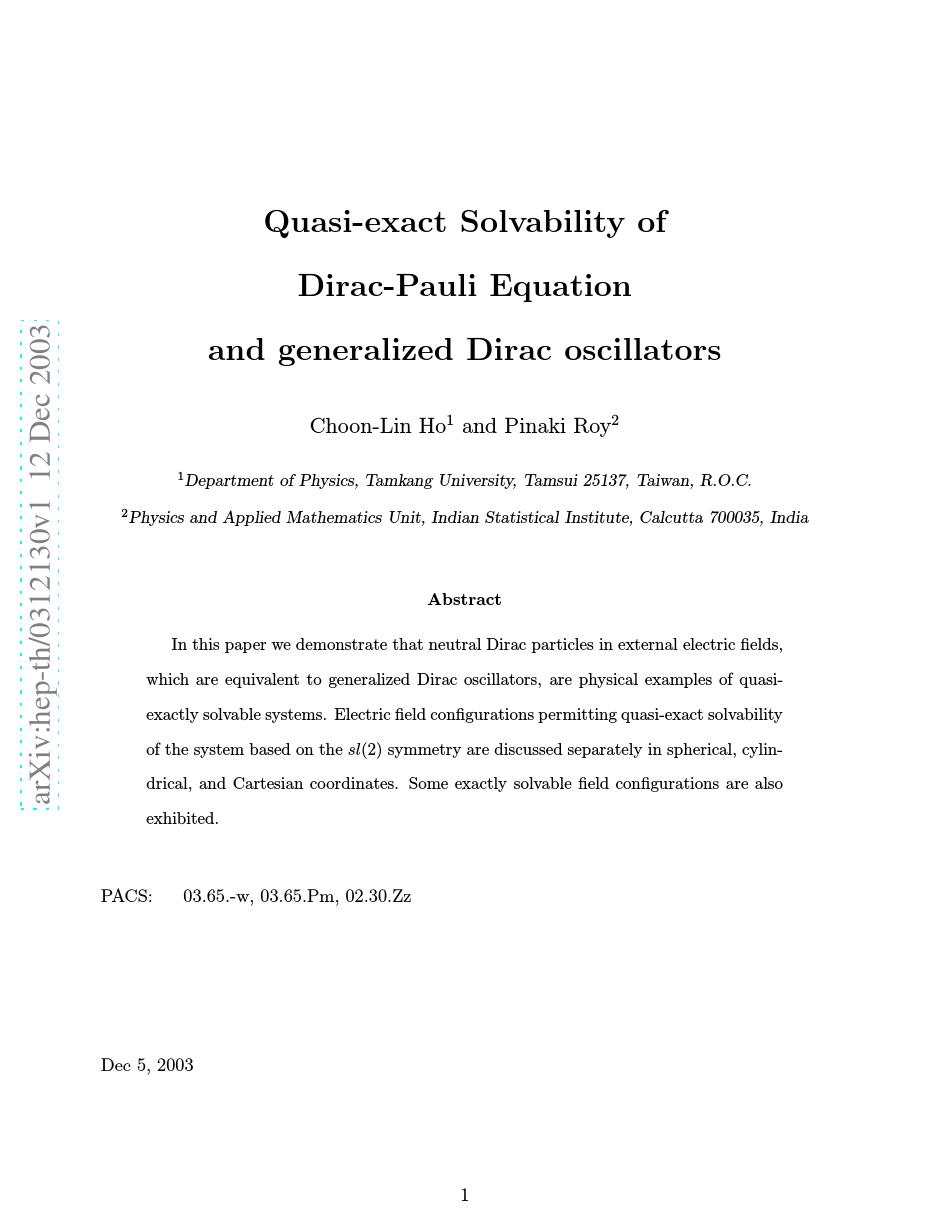 Quasi-exact solvability of Dirac-Pauli equation and generalized Dirac oscillators