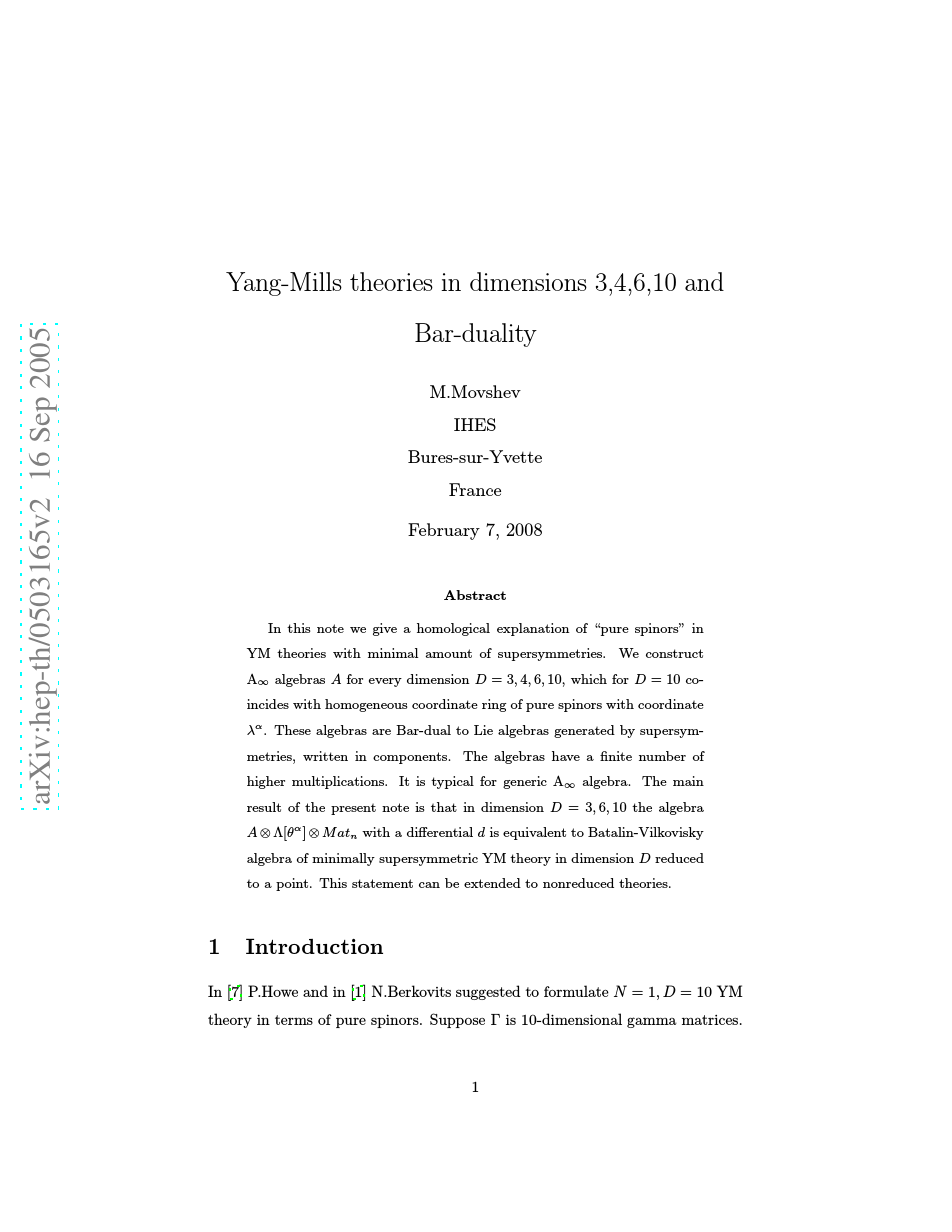 Yang-Mills theories in dimensions 3,4,6,10 and Bar-duality