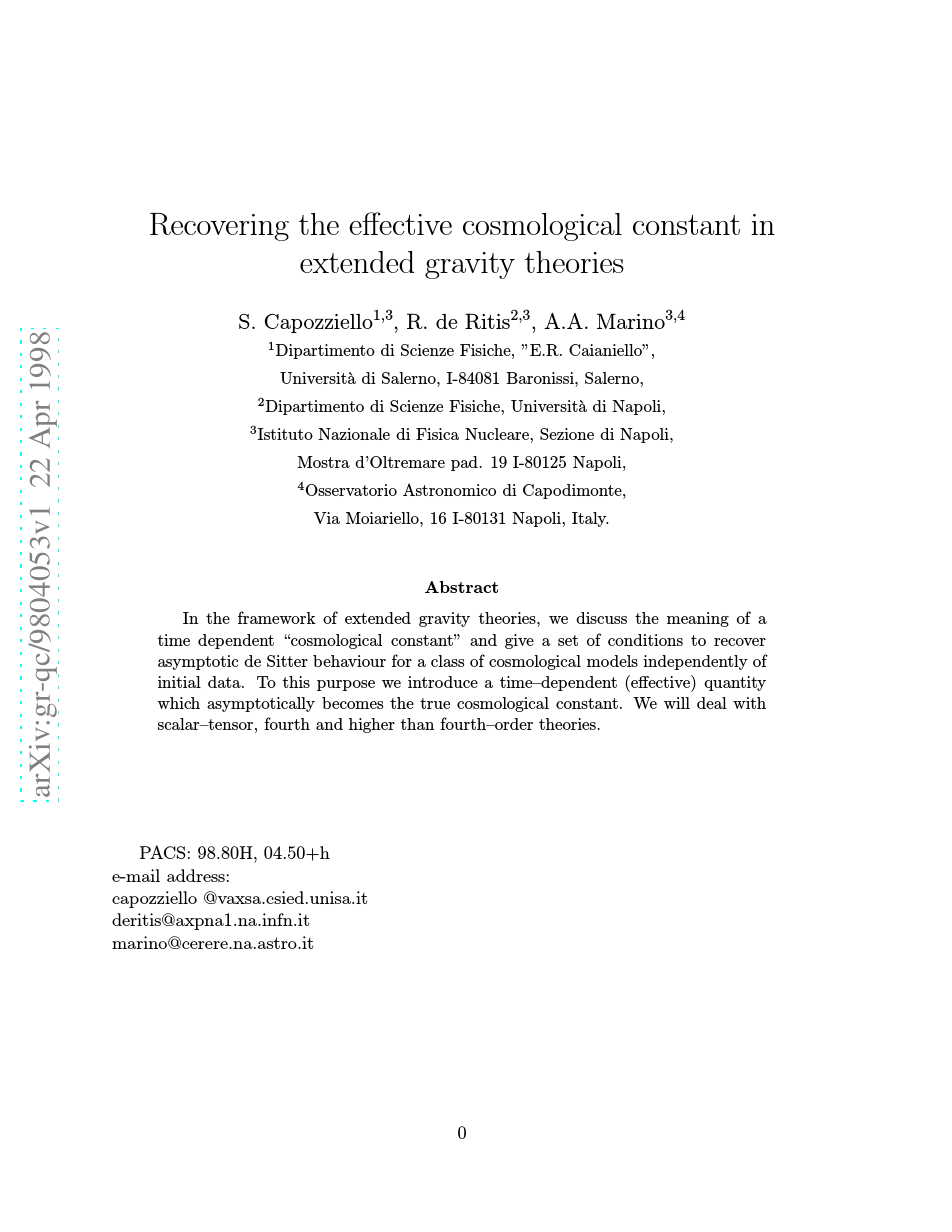 Recovering the effective cosmological constant in extended gravity theories