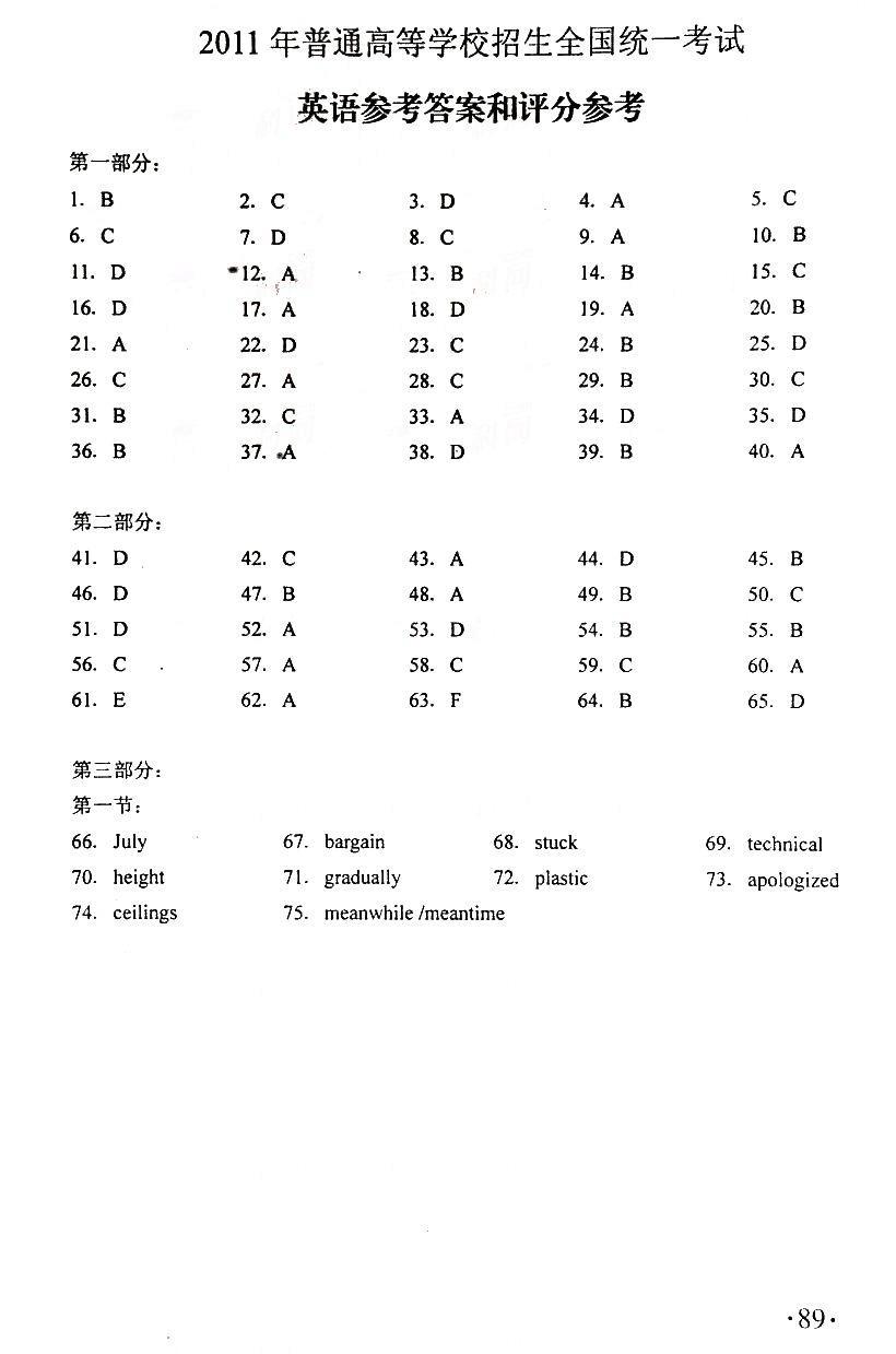 2011年全国II卷高考英语答案