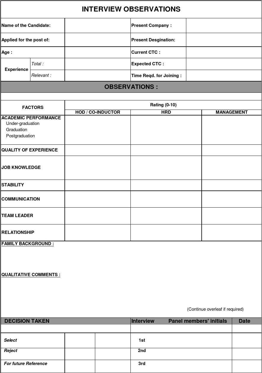 interview evaluation form word. Black Bedroom Furniture Sets. Home Design Ideas