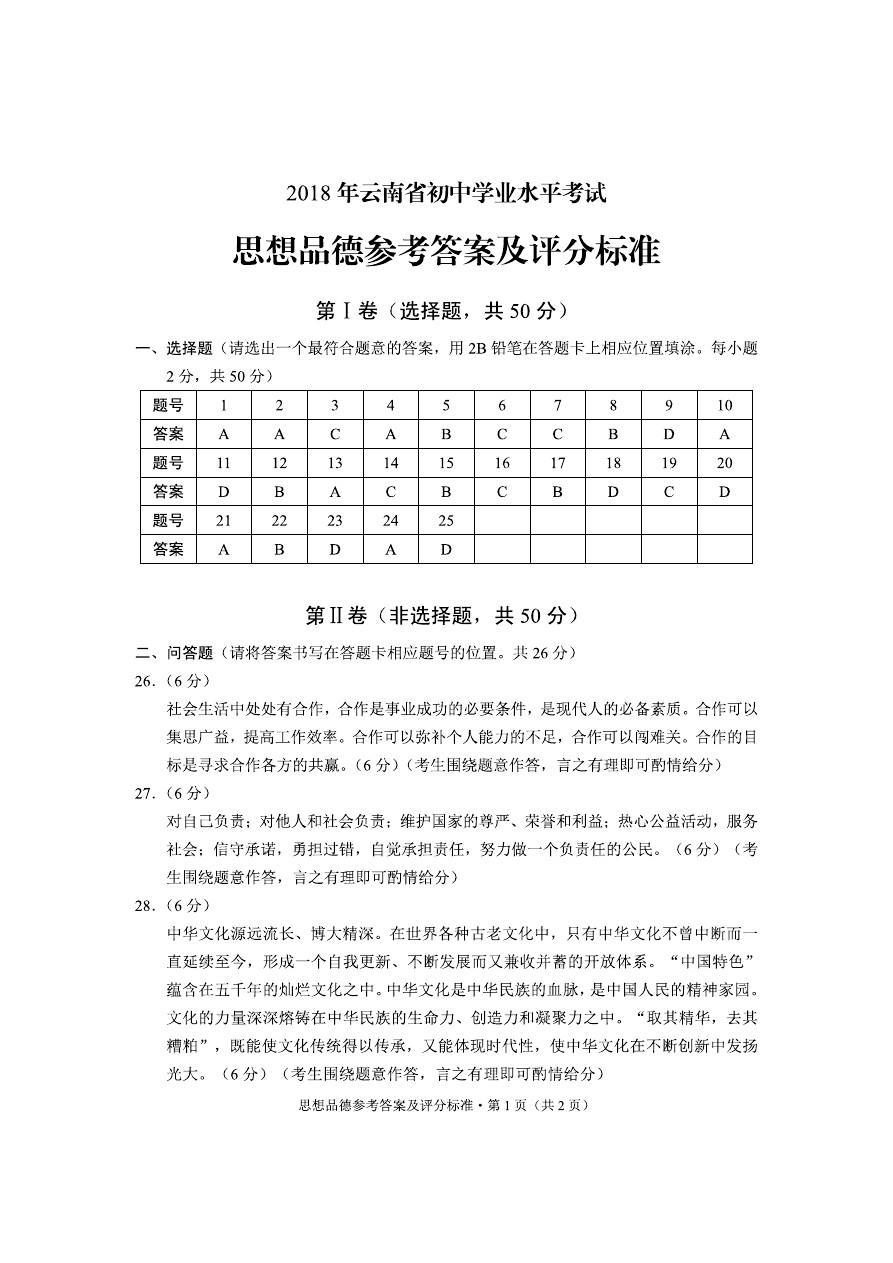 2018年云南省品德答案水平考試學業思想初中孫鎮蒲城縣初中圖片