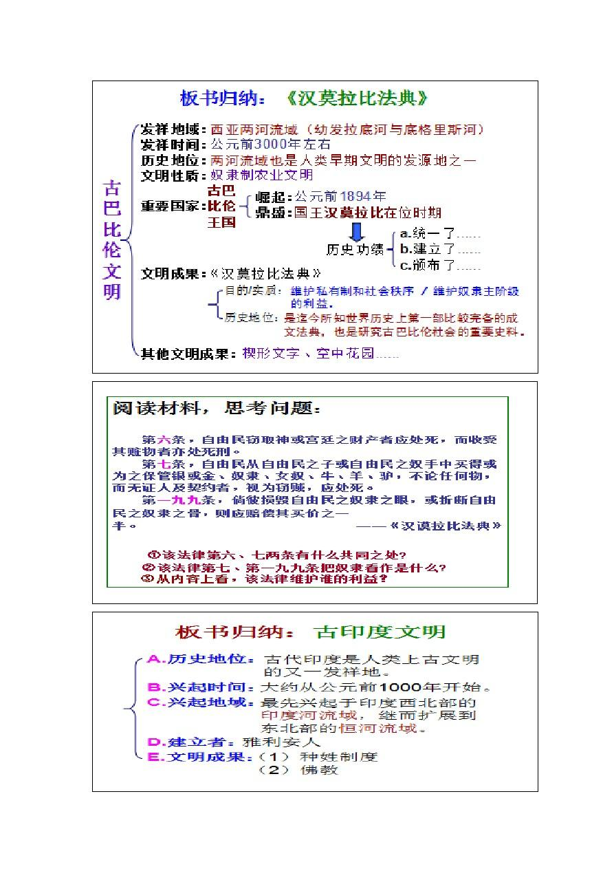 华师版九年级历史上册( 1-12) 板书设计11.图片