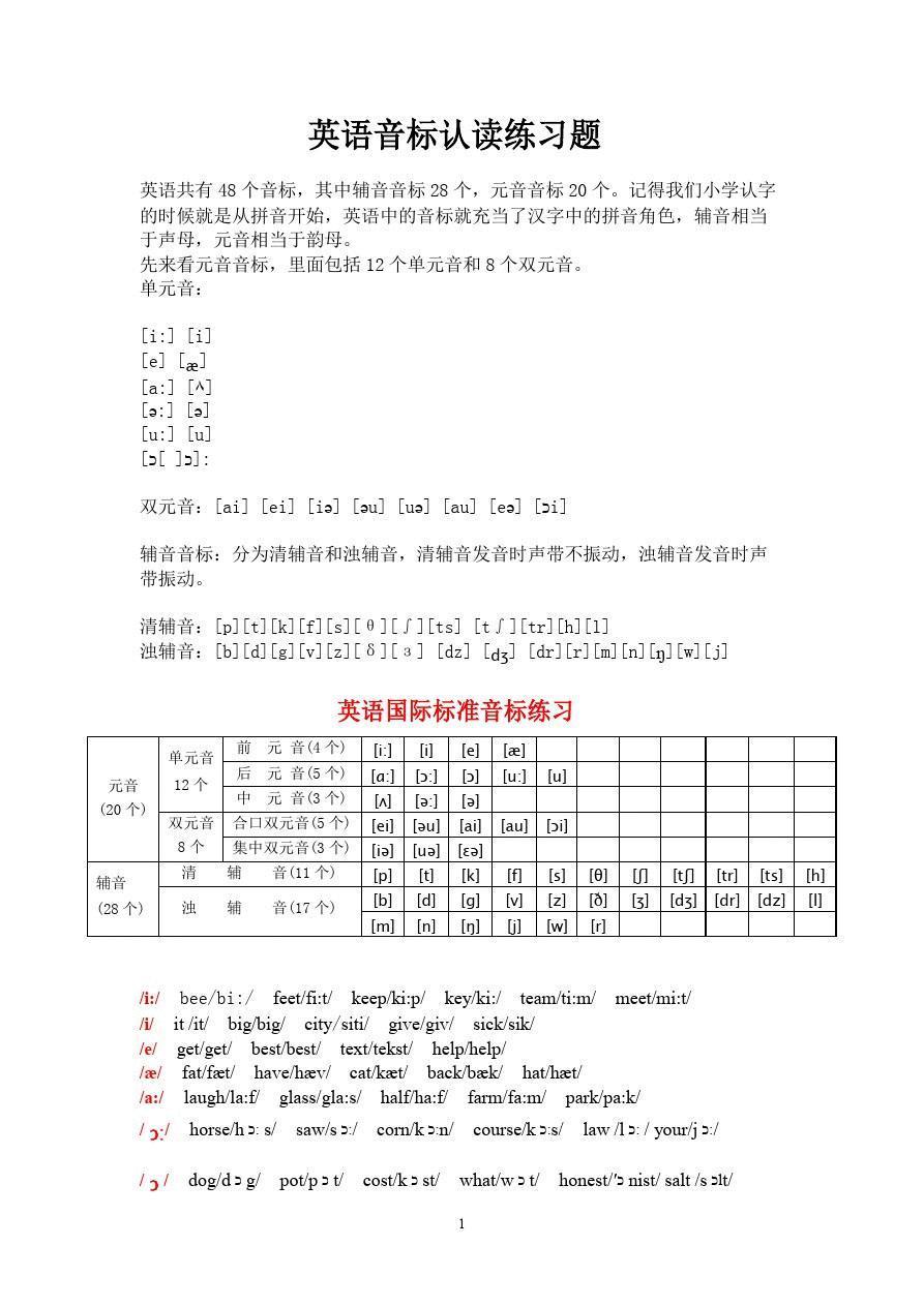 英语国际音标认读练习题