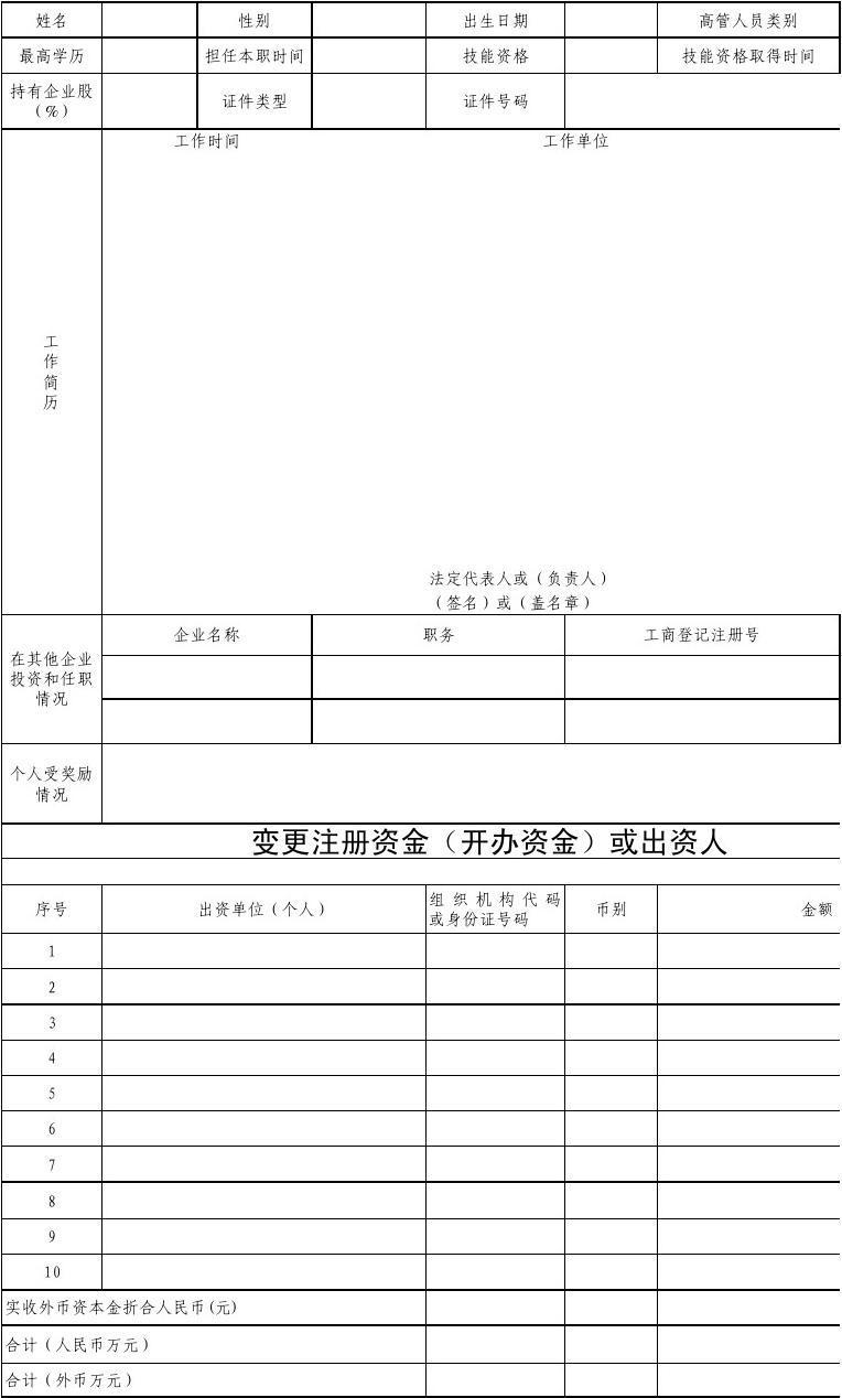 高管人员(法定代表人、负责人)简历表