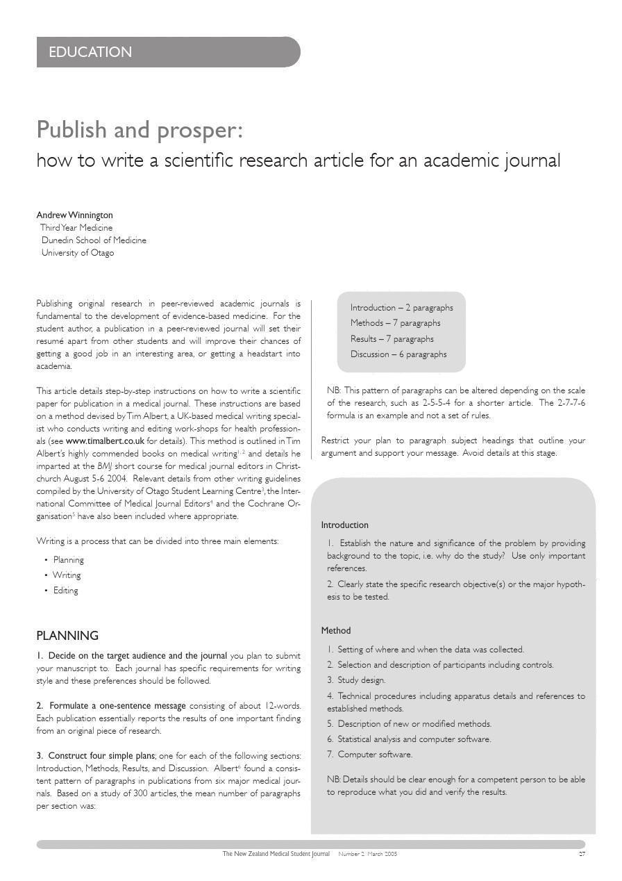 科技论文写作 how to write a scientific research article for an academic journal