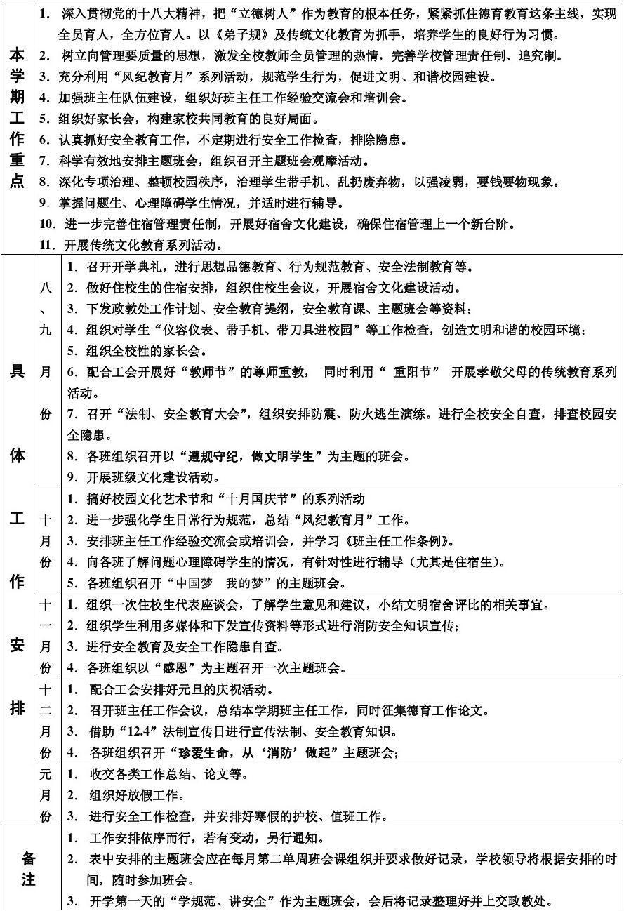 五中2013―2014年度第一学期德育工作行事历B4