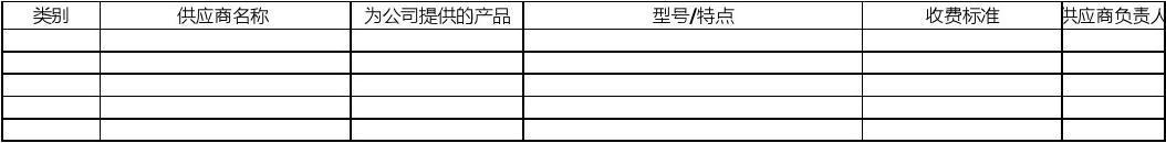 供应商统计表