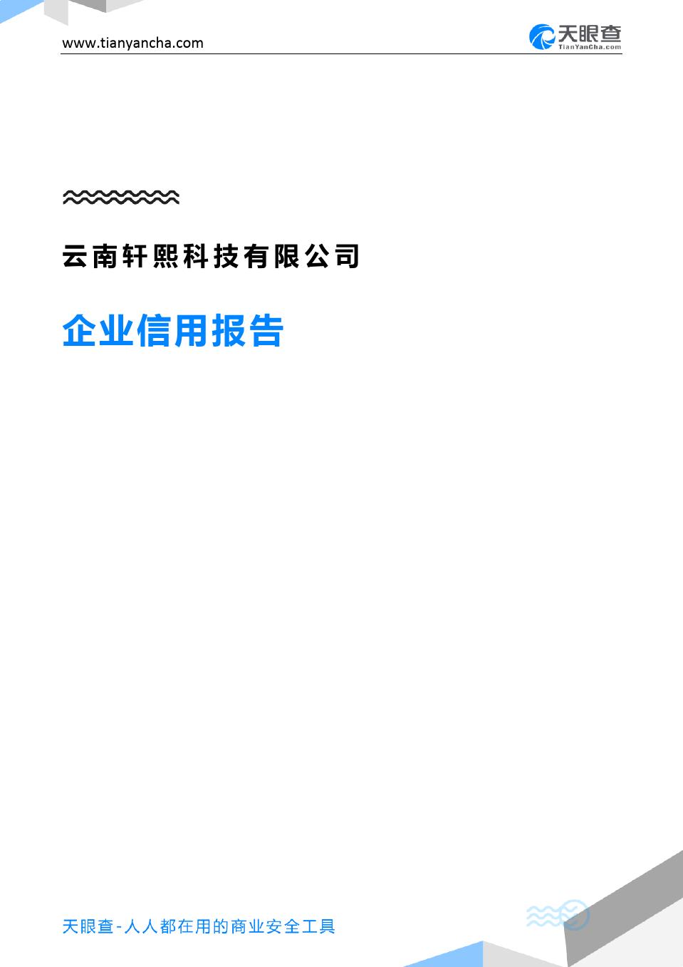 云南轩熙科技有限公司(企业信用报告)- 天眼查