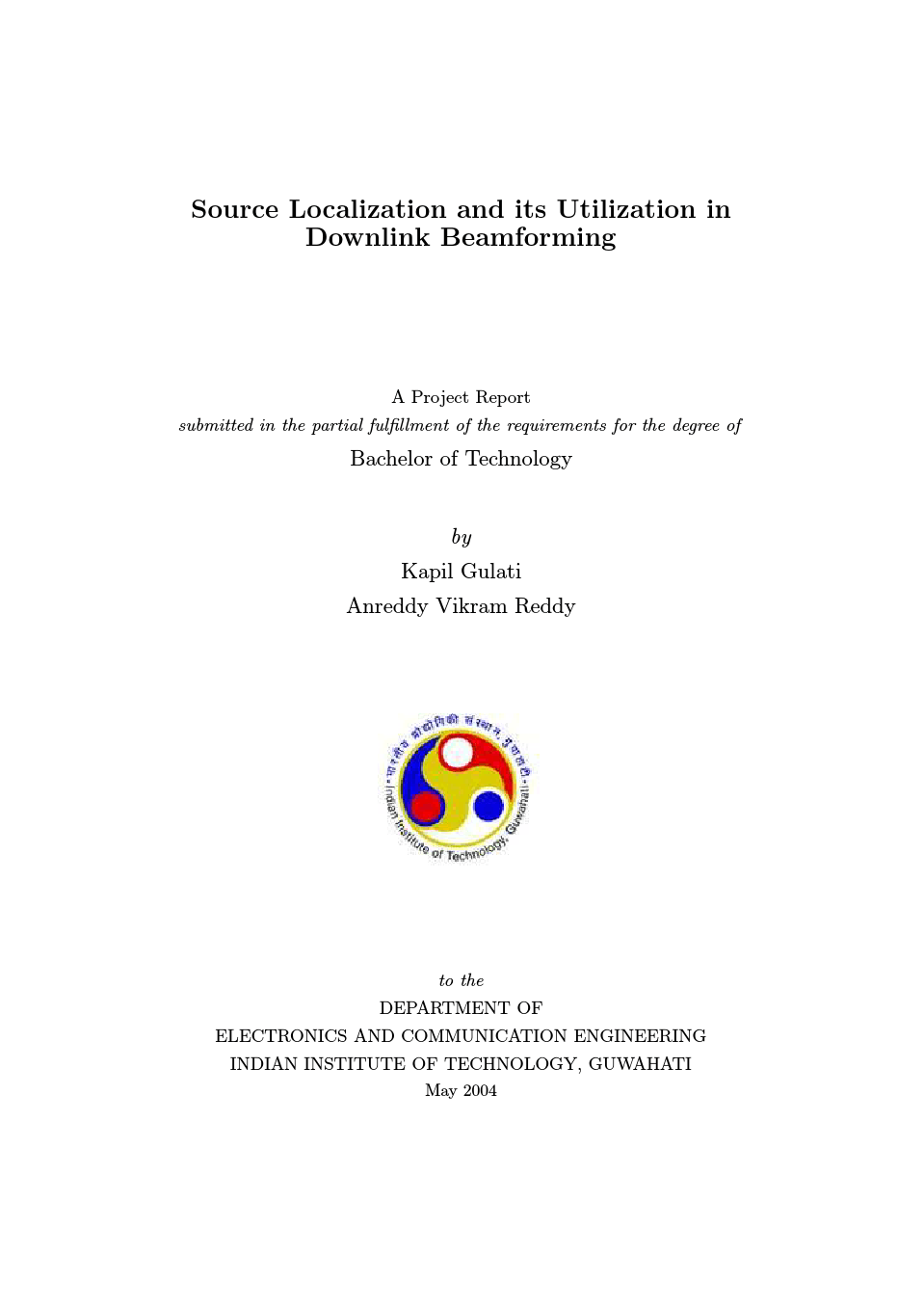 """calization and its Utilization in Downlink Beamforming """" by Anreddy Vikram"""