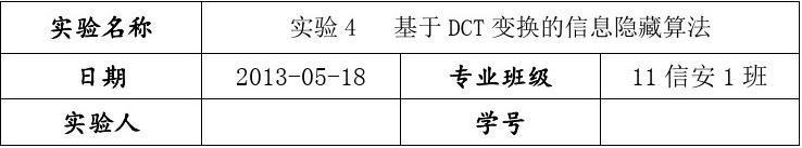 实验4 基于DCT变换的信息隐藏算法