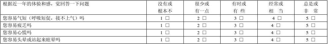 中医体质问卷调查表