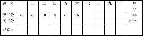 湖南大学微机原理与接口技术期末试卷A卷
