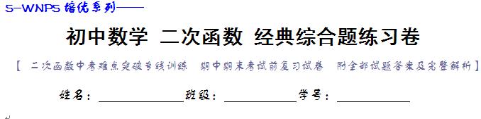 (答案)初中数学二次函数经典综合大题练习卷
