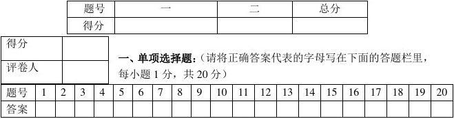 2012年1月质量检测八年级地理考试试题