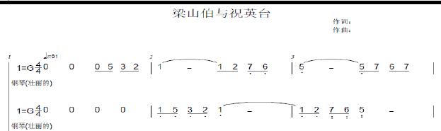 梁祝(钢琴简谱双手3页)图片
