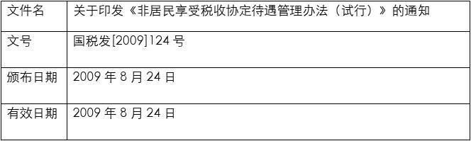 非居民享受税收协定待遇管理办法(试行)国税发2009124号