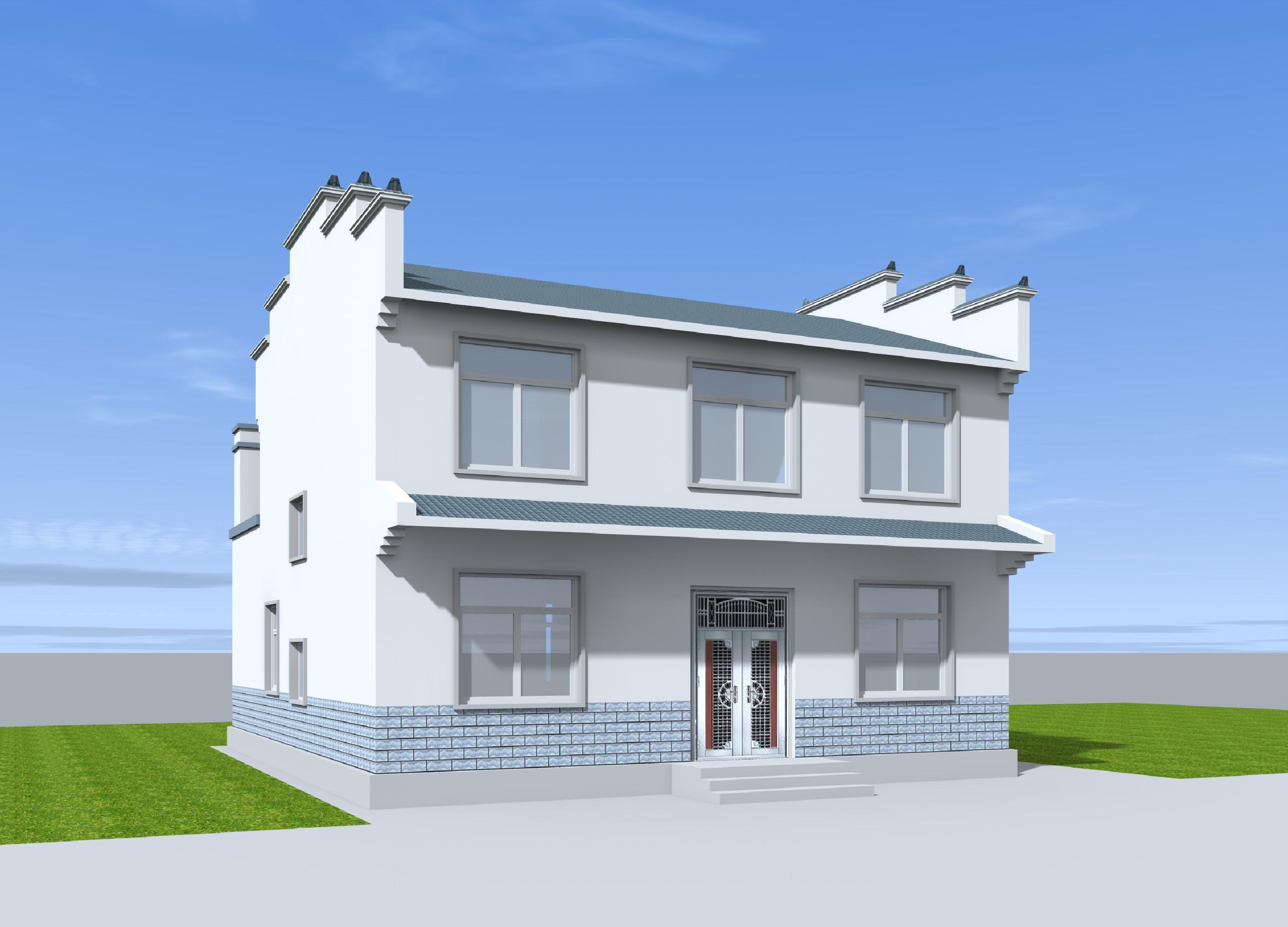 8 两层农村自建徽派别墅住宅设计图户型平面图布局图建筑结构水电效果