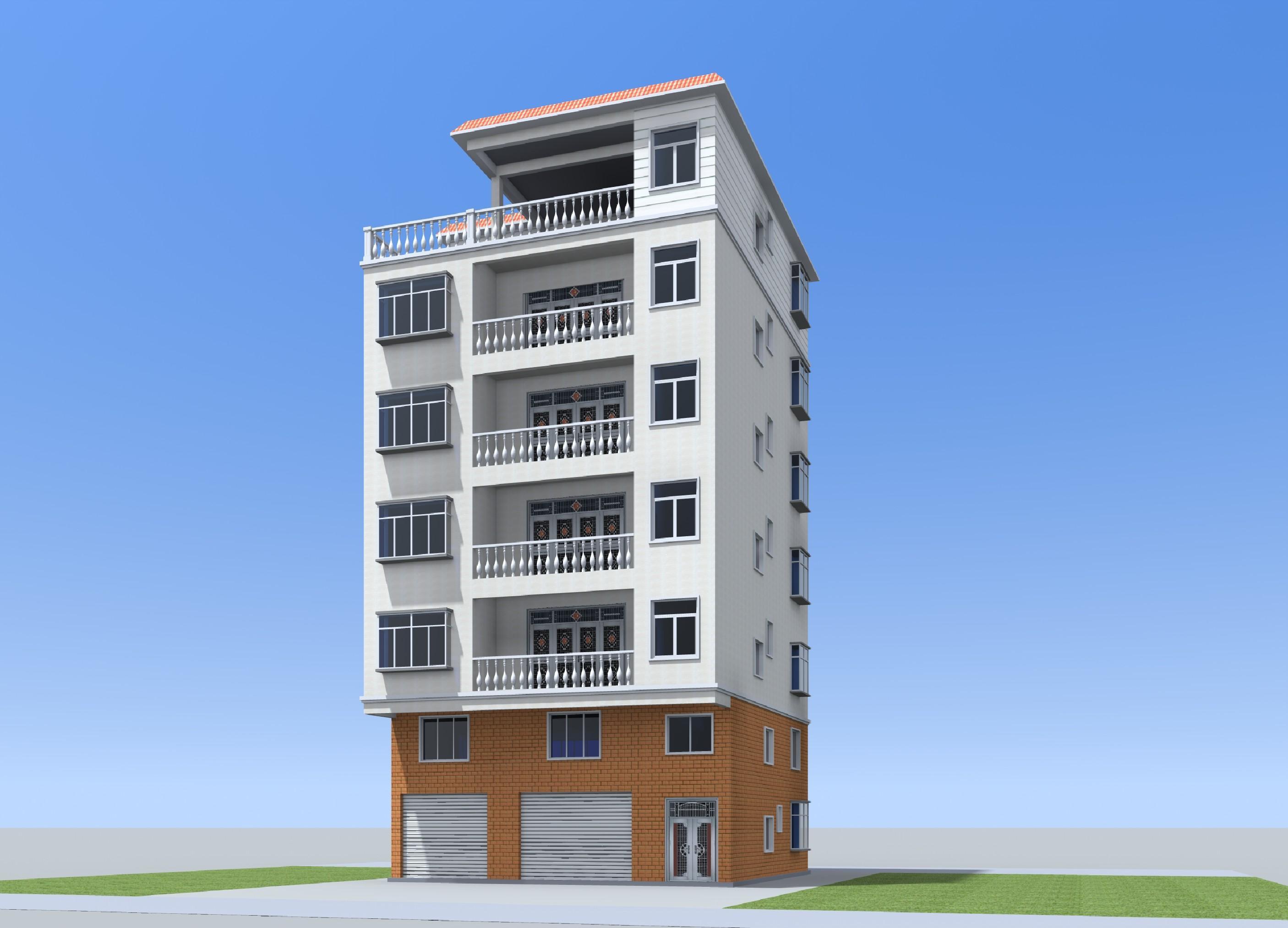 12.1x12.1 五层农村自建门面楼房设计图纸带夹层户型平面图每层一套建筑结构水电全套施工图纸