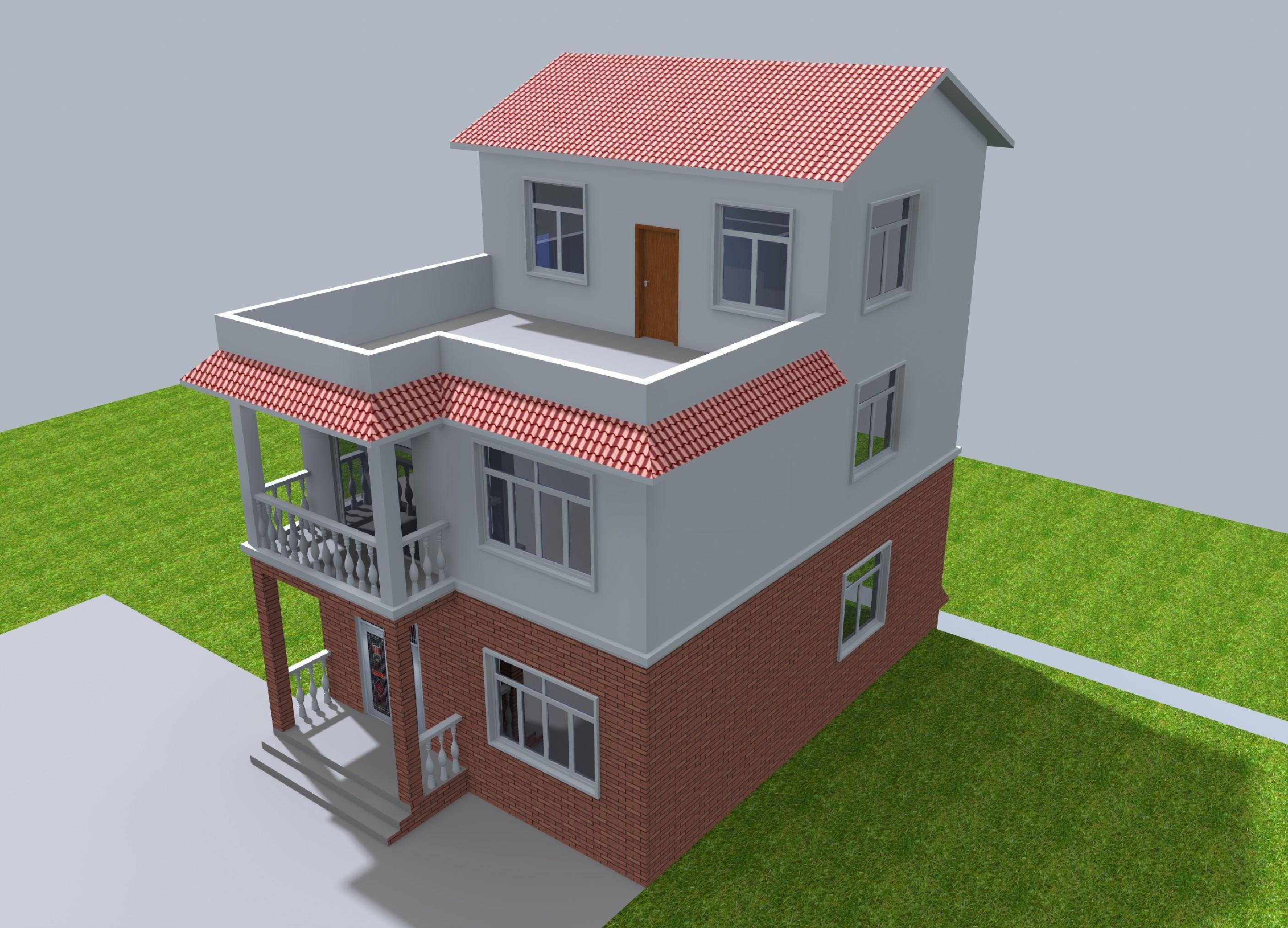 2两层半带地下室方案自建公园v方案图纸平面图农村图别墅图效果图边上户型的别墅图片