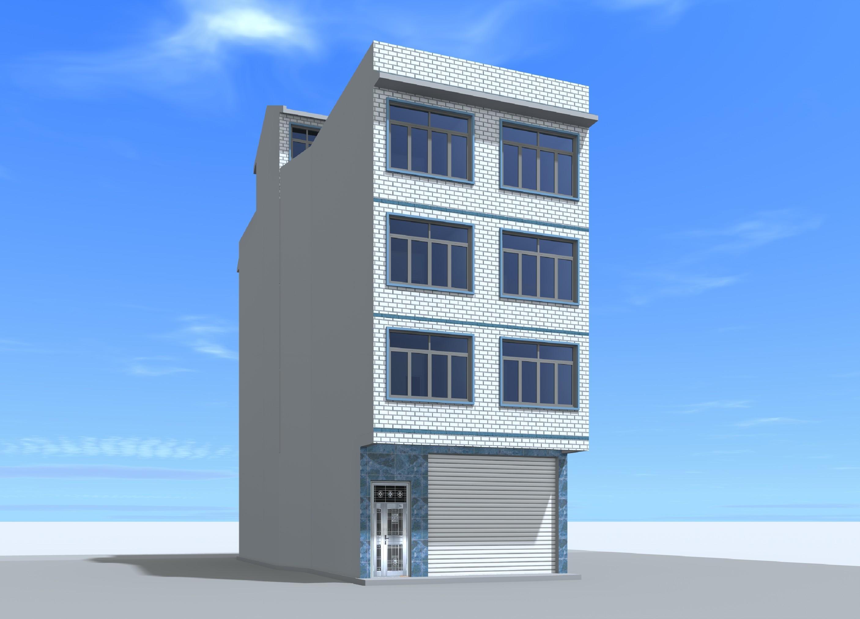 4x16.7 四层城镇临街自建门面楼房住宅设计图平面户型方案图纸效果图图片