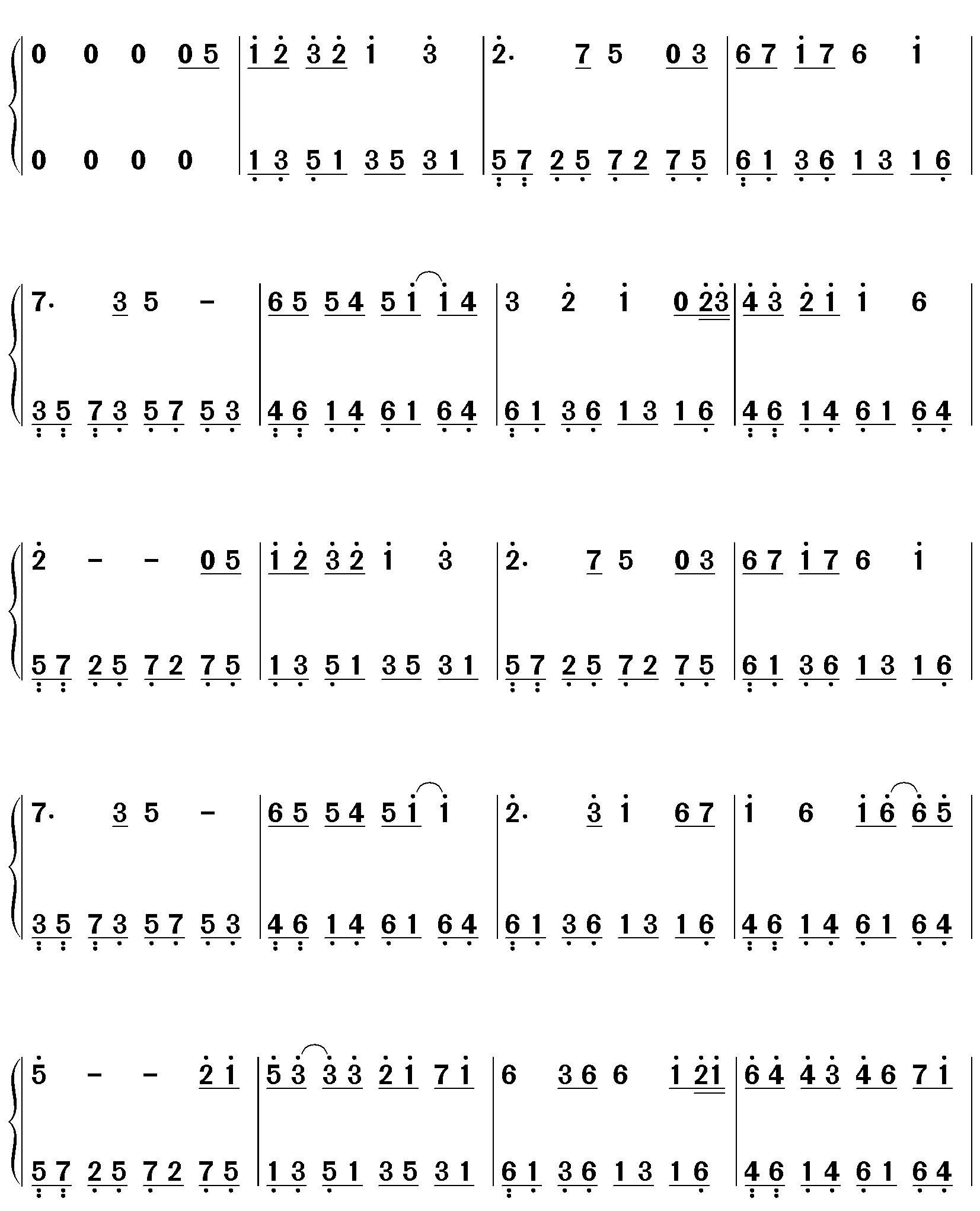 约定 钢琴双手简谱图片