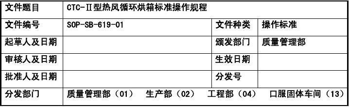 6.12修改 CTC-Ⅱ型热风循环烘箱标准操作规程