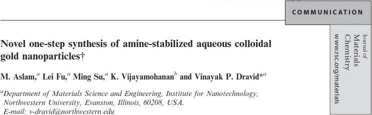 Novel one-step synthesis of amine-stabilized aqueous colloidal gold nanoparticles