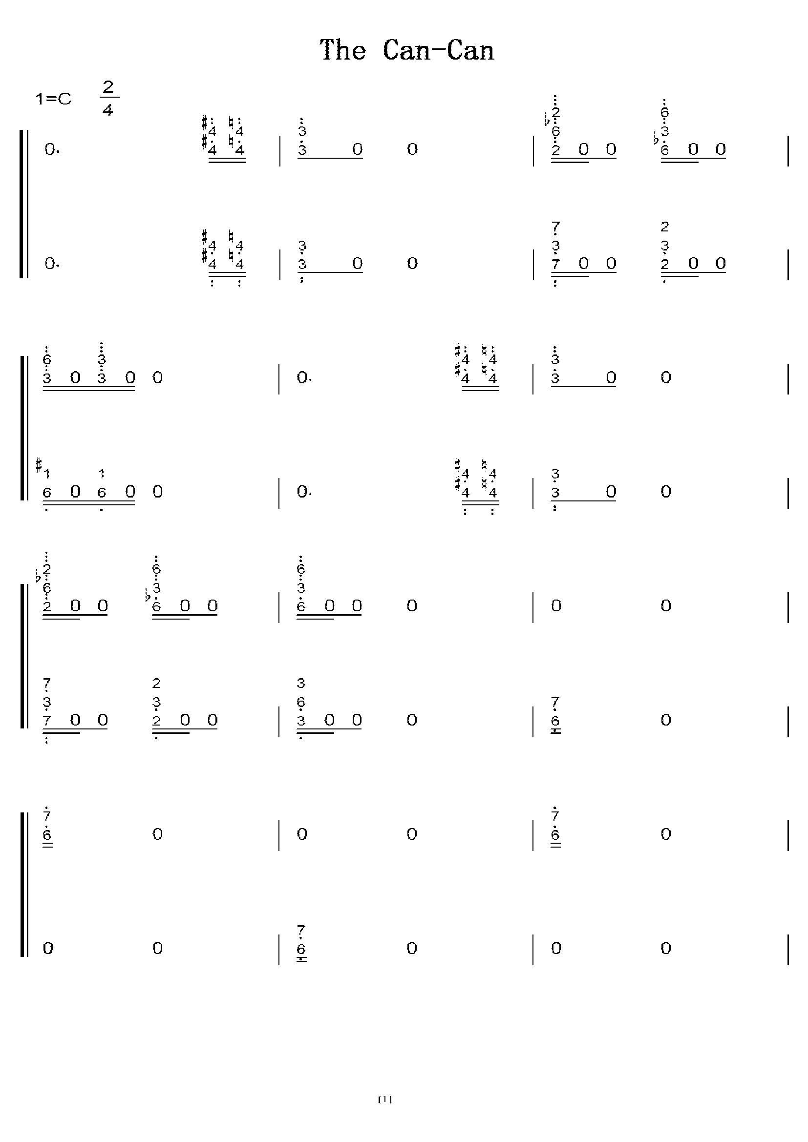 奥芬巴赫 康康舞曲 初学者c调简易版 钢琴双手简谱 钢琴简谱 钢琴谱图片