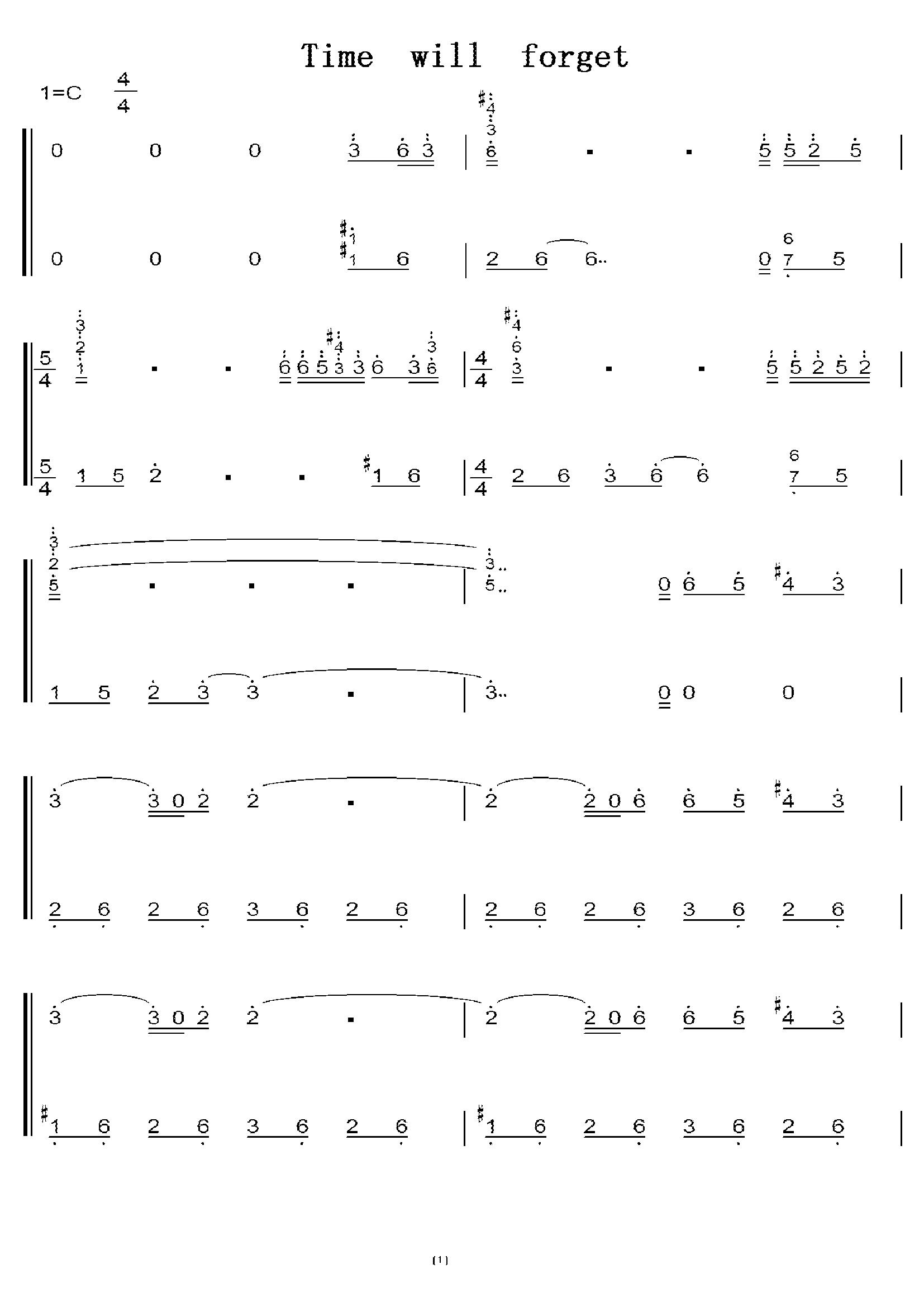 时间会遗忘(李闰珉 yiruma) 初学者c调简易版 钢琴双手简谱 钢琴简谱图片