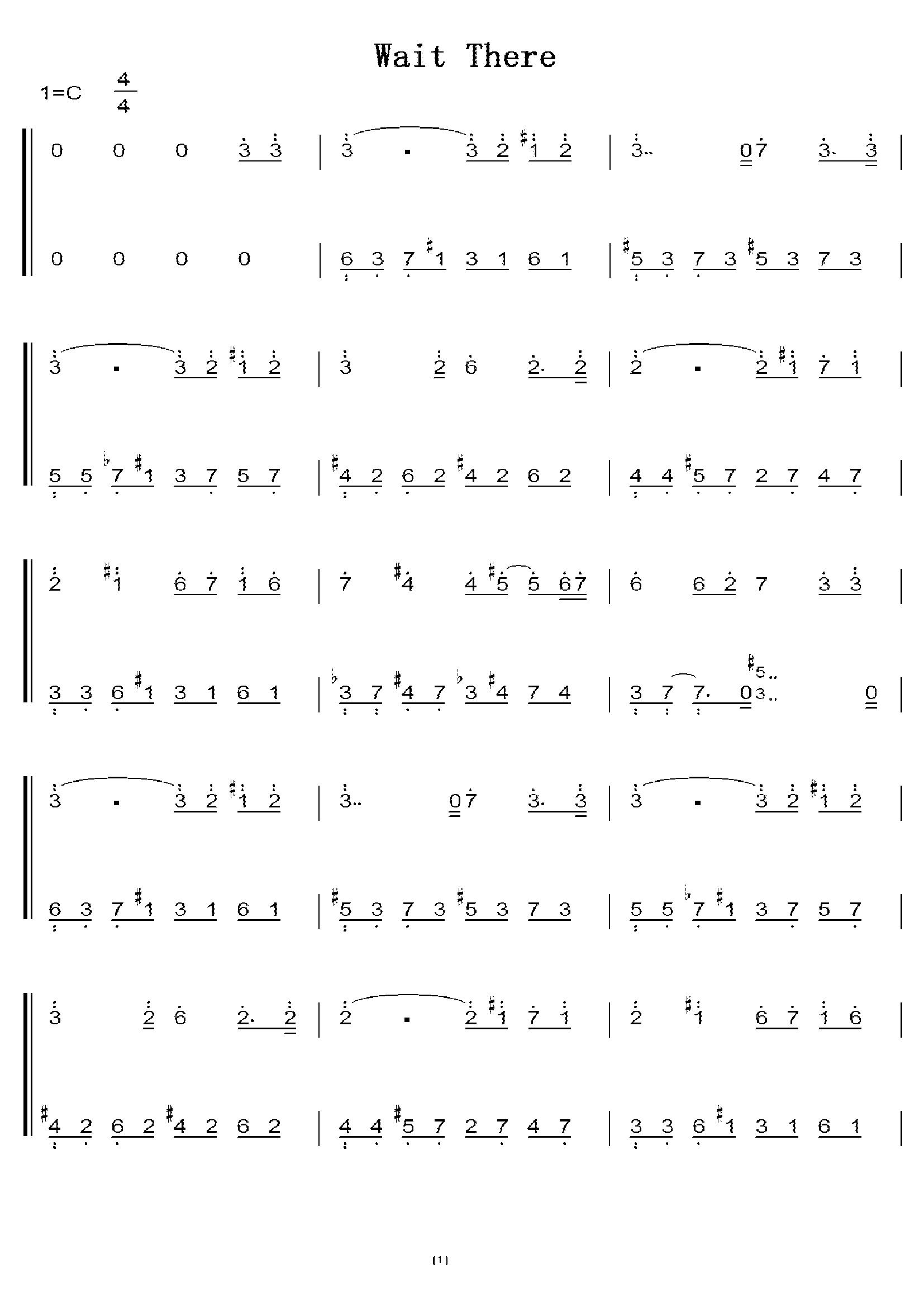 wait there(李闰珉 yiruma) 初学者c调简易版 钢琴双手简谱 钢琴简谱图片