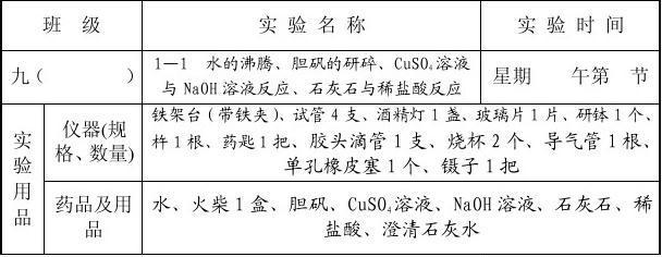 九年级化学实验通知单(演示分组实验全册37页)