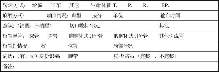 手术室患者交接流程_手术病人术前转运交接记录单_文档下载