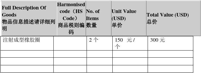 形式发票(填写说明中英文对照)
