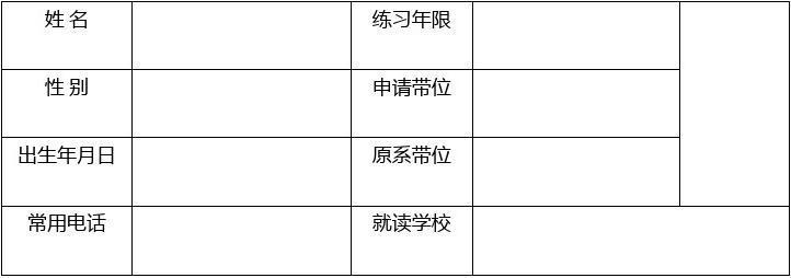 中国跆拳道协会晋级申请表