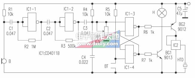 用cd4011制作的电子蜡烛 本电子生日蜡烛电路虽然简单,但却具有一定