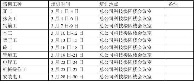 培训课程安排表