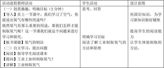 最新 【北京课改版】九年级化学上:第2章第2节《氧气的制法》教案(1)