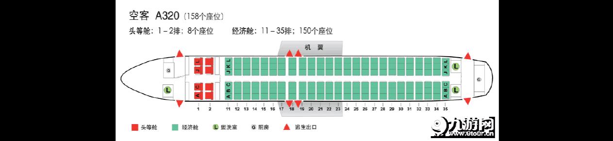 机型座位 空中客车 a320座位图(158个座位)图片