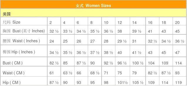美国 英国 中国 服装尺码大全和对比