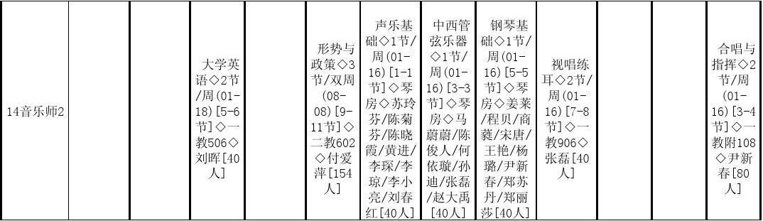广东技术师范学院14-15第二学期课程表初稿音乐学院图片