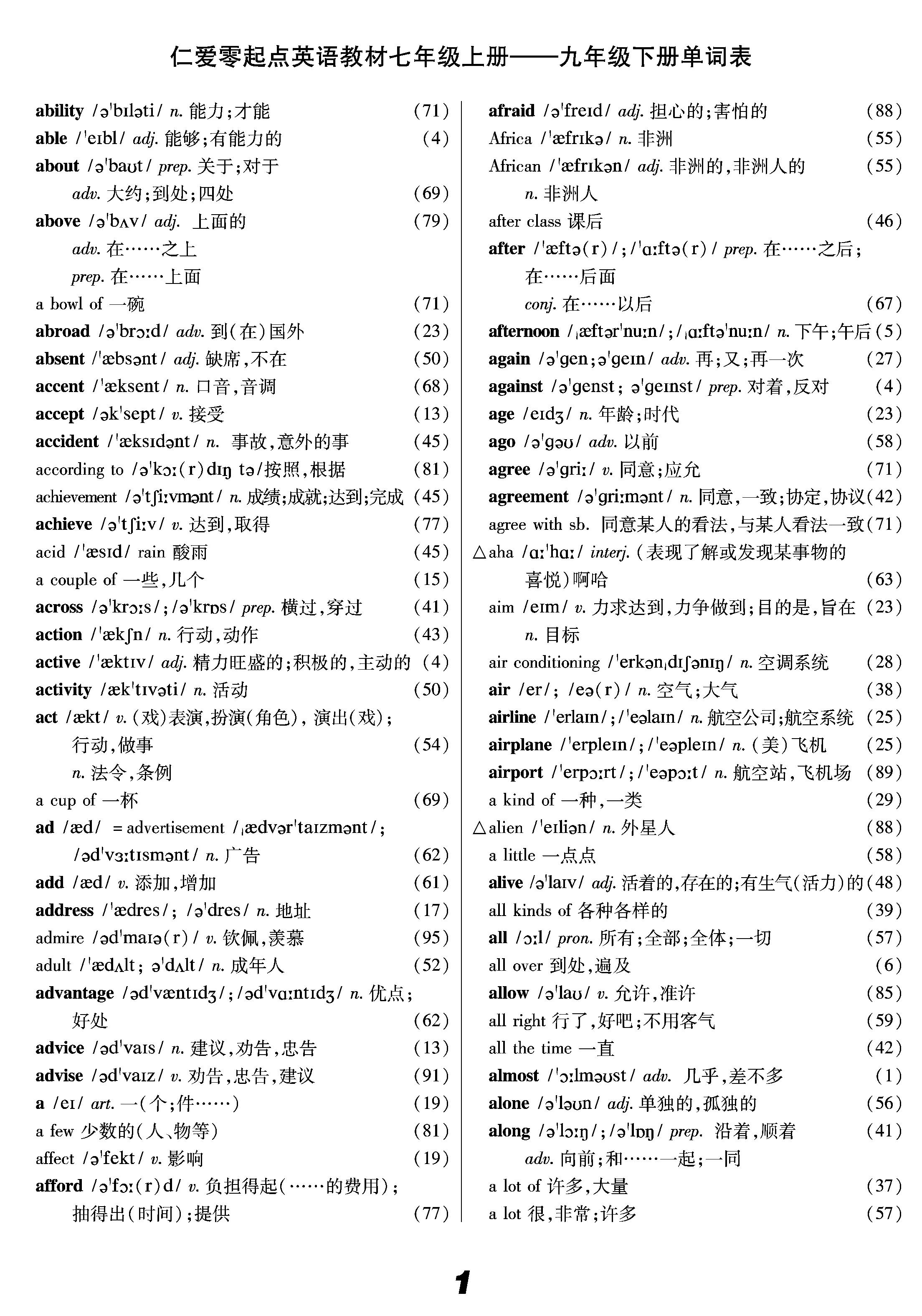仁爱版英语词汇表(全)