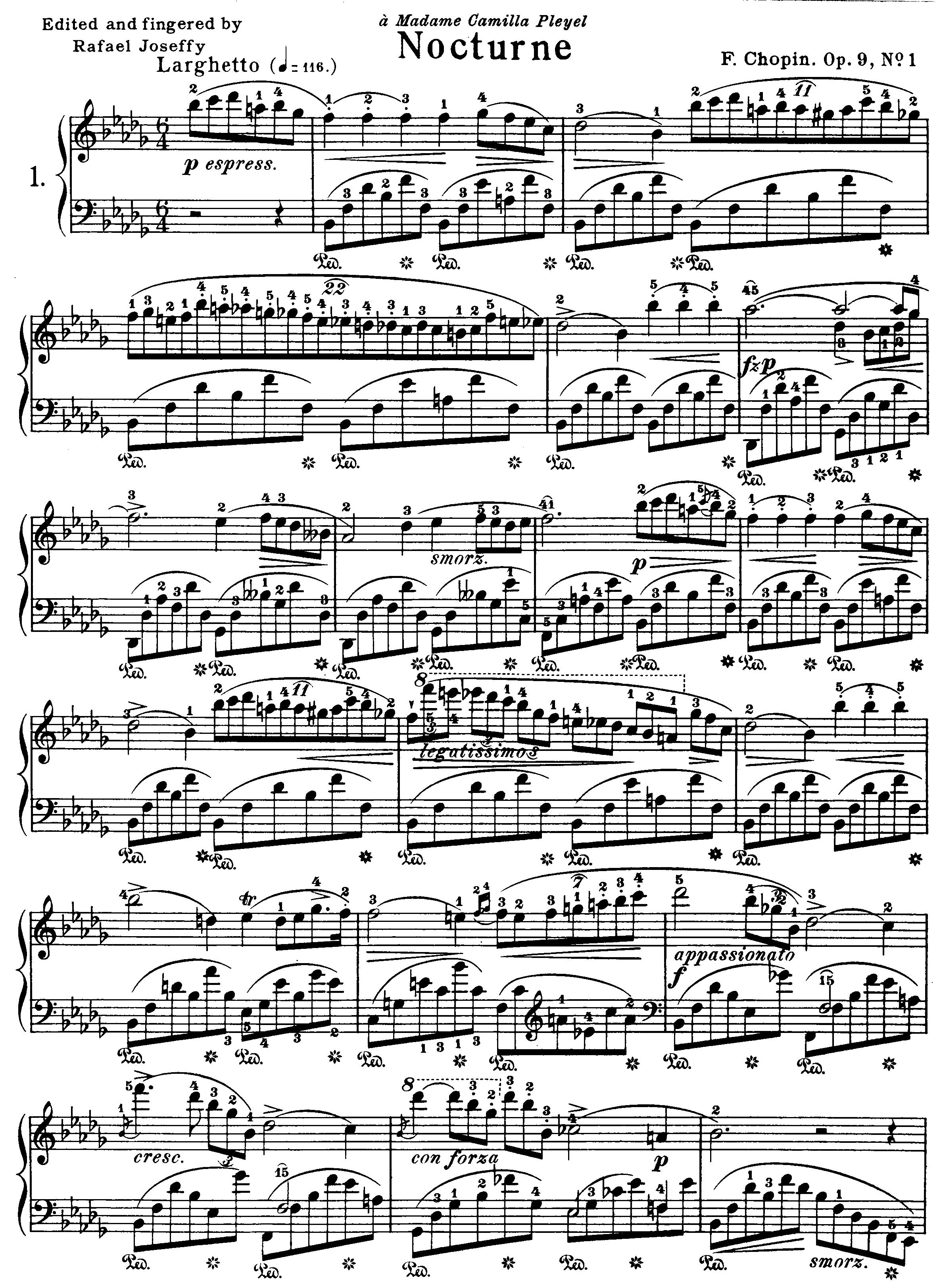 (肖邦 夜曲第二版)1 nocturne-op-9-no-1 原版 五线谱 钢琴谱 正谱