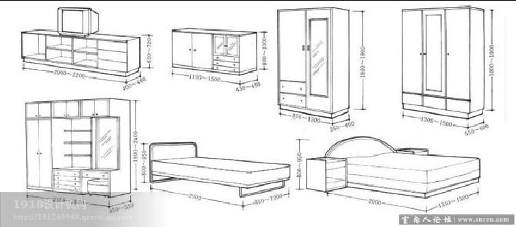 建筑及室内设计家具尺寸曲线绘制1(常识常用vb接说明实时比例图片