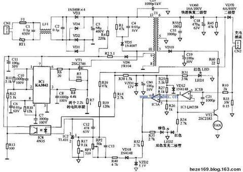 电路,目前很多电动车的48v充电器都是采用ka3842和比较器lm358来完成图片