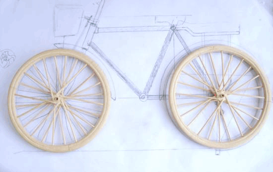 diy用竹子手工制作二八式自行车