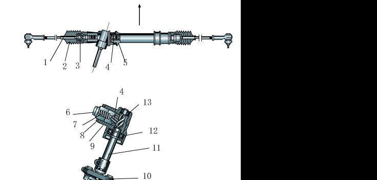3所示,作为传动副主动件的转向齿轮轴11通过轴承12和13安装在转向器