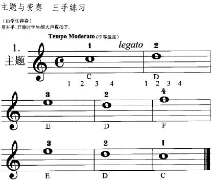 拜厄钢琴基本教程 主题1,2及变奏曲谱(学生部分)图片