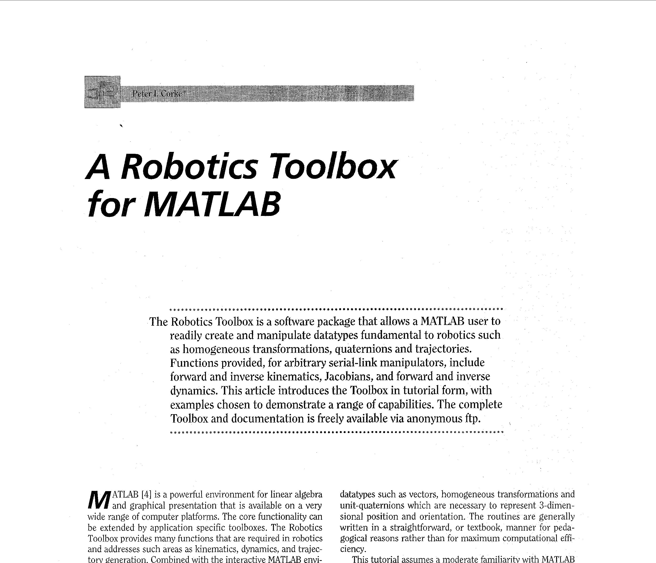 A robotics toolbox for MATLAB_文档下载